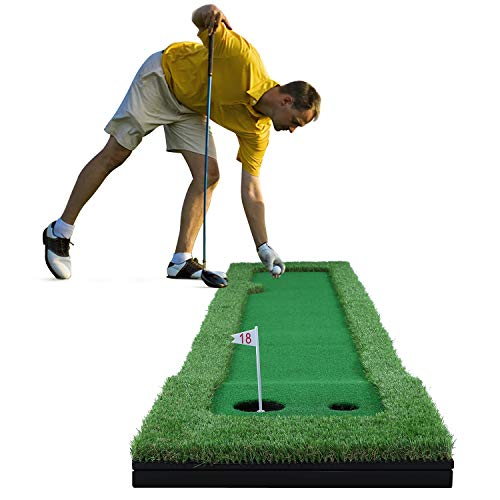 Golf Putting Mat Green, Professional Golf Simulator Training Mat Aid Equipment Putting Set, with Flags and Detachable Base Game and for Home, Office, Outdoor Use 9.84 feet x 1.64 feet