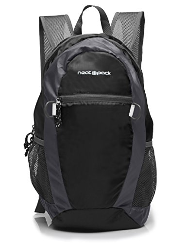 NeatPack Durable, Foldable Nylon Backpack / Daypack with Security Zippers, 20L, Black 20l Backpack