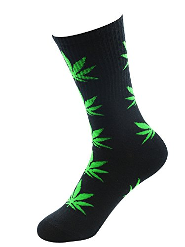 Zando Marijuana Weed Leaf Printed Cotton Unisex Colorful Sports Comfort High Crew Socks Black Green