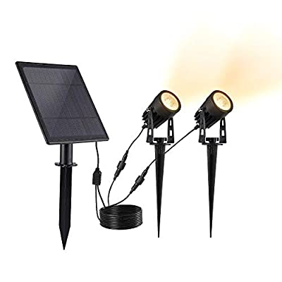 Yolentech Outdoor Solar Spot Light, LED Solar Panel Light for Landscaping, Dusk to Dawn Solar Landscape Lighting, Waterproof, Perfect for House, Yard, Garden, Backyard, Tree (Daylight)