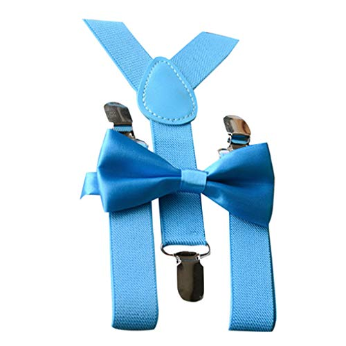 (Efaster Kid Baby Boy Girl Adjustable Braces Elastic Suspender and Bow Tie Set 1-10 Years (Sky)