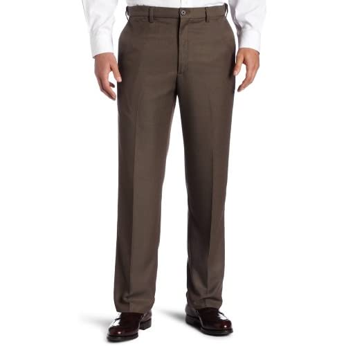 Haggar Flat Front Classic Fit Dress Pants No Iron Comfort Waist Heather Gray