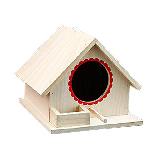 Lzttyee Natural Color Bird Feeding House Wooden Birdhouses Assembled Bird Nesting Box for Different Kinds of Birds (Large)