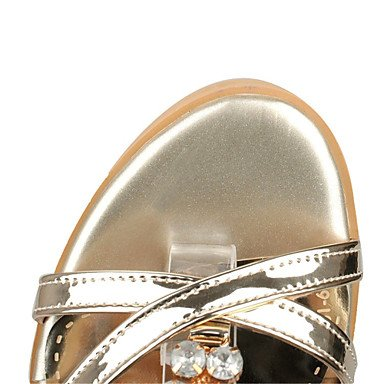 LFNLYX Tacones de mujer de Primavera / otoño / invierno / Plataforma comodidad material personalizado / Polipiel Boda / vestimenta casual / Chunky talón hebilla Silver