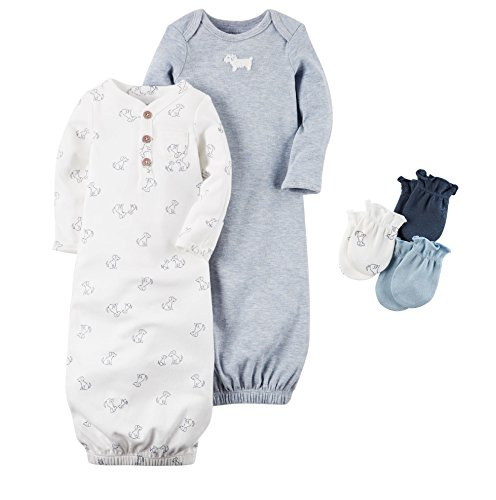 Carters Baby Sleepbag and Mitten Layette Gift Set Blue Puppy 3 (Carters Gown Set)