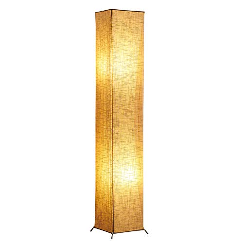 (Floor Lamp, CHIPHY Square Standing Lamp, with Brown Linen Shade and 2 LED Bulbs, Contemporary and Modern for Living Room, Bedroom and Office(10