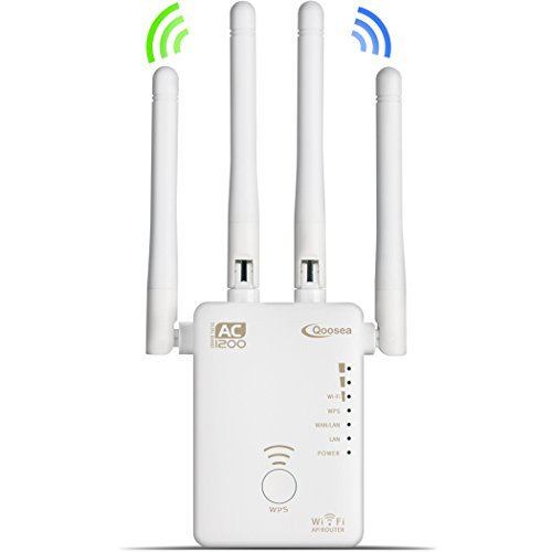 Qoosea WiFi Extender Repeater/AP/Router AC1200 Mbps Dual Band Wireless Signal Range Booster with 4 External 3dBi Antennas Compatible with Smart Home & Alexa Devices – White
