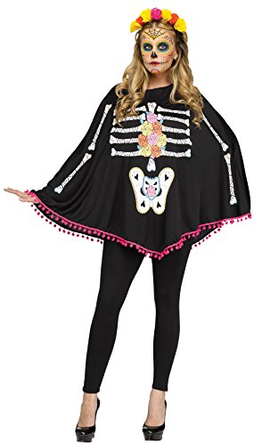 Clown Costumes Dead (UHC Women's Day Of The Dead Festival Skeleton Poncho Halloween Costume (Day of the)