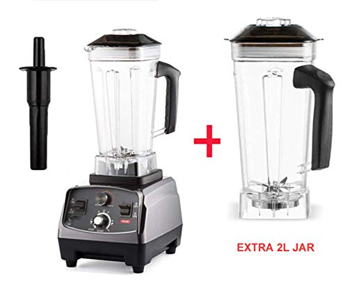 Commercial Grade Timer Blender Mixer Heavy Duty Automatic Fruit Juicer Food Processor Ice Crusher Smoothies 2200W,With Extra Jar,Spain,EU Plug