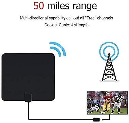 Antena TV Interior, Antena Interior TDT 80 Millas con Amplificador de Señal y Cable Coaxial de 16 FT, Digital HDTV Antena Portatil para DVB-T TDT (Negro): Amazon.es: Electrónica