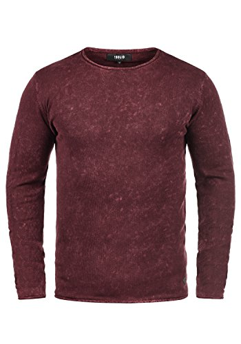 Coton 0985 Homme 100 Red Maille Rond Encolure solid En Pull Pull Tricot Kirisaku Wine over wCU6qPC