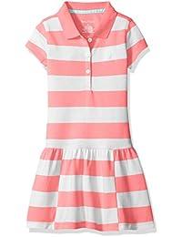 Girls' Pique Dress With Offset Stripe Skirt and Flat Knit Collar