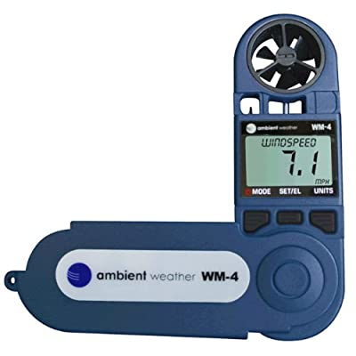 Image of Ambient Weather WM-4 Handheld Weather Station w/Windspeed, Direction, Temperature, Humidity, Compass, Dew Point, Comfort Index, Psychrometer Weather Stations