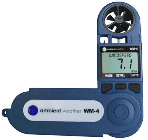 Ambient Weather WM-4 Handheld Weather Station w/Windspeed, Direction, Temperature, Humidity, Compass, Dew Point, Comfort Index, Psychrometer