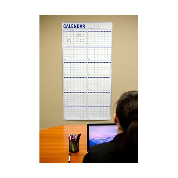 New Annual Wall Calendar Large Vertical Dry Erase Event