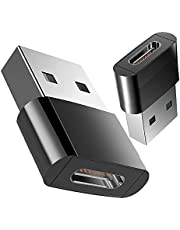 FHTDAW USB C Female to USB Male Adapter (2-Pack), Type C Charging Cord Connect USB A Charger, charging + transmission, compatibility High (Black)