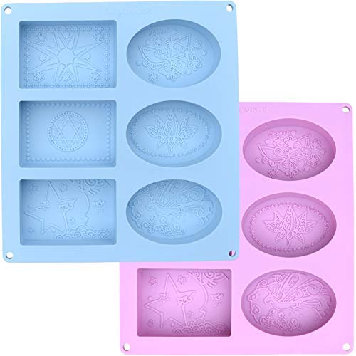 (Silicone Soap Molds Set of 2 - Mixed Patterns Rectangle & Oval Shape - Silicone Mold for DIY Handmade Soap Making )