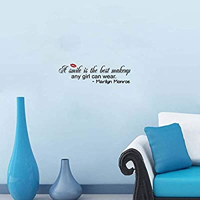 A Smile is The Best Makeup Any Girl Can Wear Wall Stickers Home Decal Removable Art DIY Sticker: Home Improvement