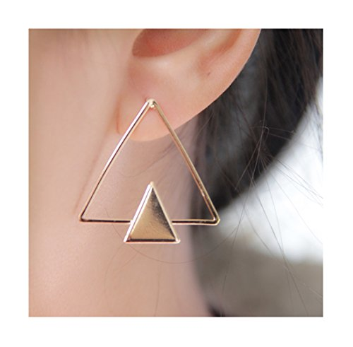 Geerier Elegant Double Triangle Geometric Stud Earrings Big Bar Linked Open Triangle Small Metal Triangle Earrings for Women (Double Triangle Earrings)