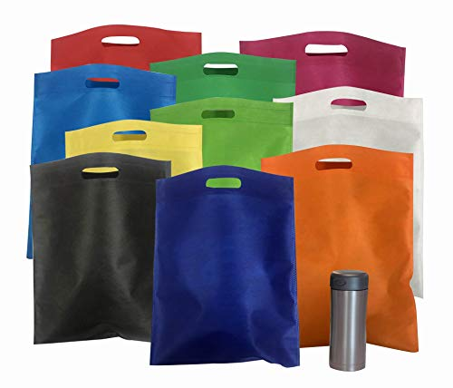 """Bulk 50 Pack Mega 15"""" x 16"""" Cutout Handle Tote Assortment - Ideal Shopping, Treat, Gift or Everyday Bags"""