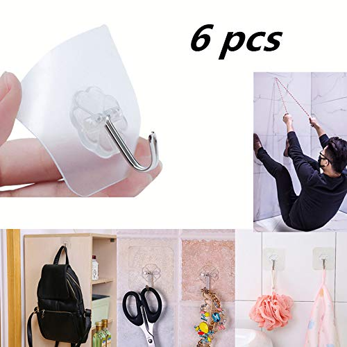 (Suction Cup Hooks,6 Pack Heavy Duty Vacuum Suction Cups Strong Transparent Suction Cup Sucker Home Kitchen Bathroom Wall Hooks Hanger for Towel Loofah Cloth Key Women's Handbag USB Cable (Clear))