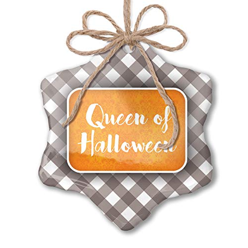 NEONBLOND Christmas Ornament Queen of Halloween Halloween Orange Wallpaper Grey White Black Plaid]()