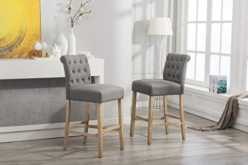Roundhill Furniture PC562GY Siena Bar Height Button Tufted Back Solid Wood Stools, Set of 2, Gray