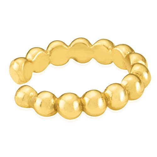 - 18K Yellow Gold Plated Sterling Silver Women's Beaded Huggie Cuff Earring - In Gorgeous Polished Finish
