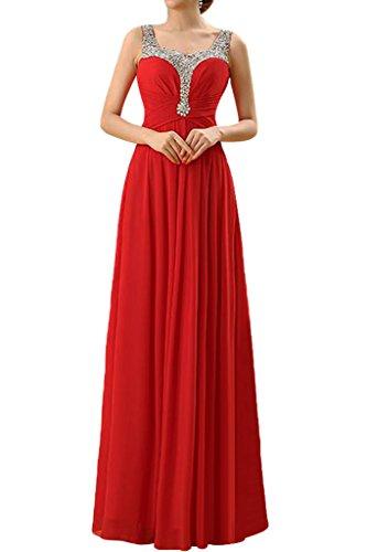 Promgirl House Damen Elegant Rot Chiffon Trager A Linie Abendkleider Ballkleider Cocktailkleider Lang