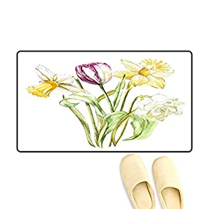 Door Mats for Inside Spring Flowers Narcissus an Tulip Isolate on White backgroun Watercolor han Drawn Illustration 61