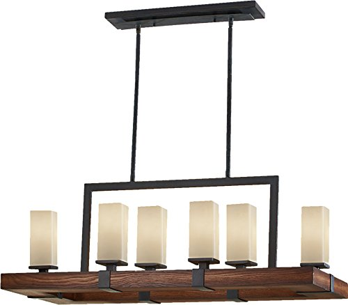 Murray Feiss F2592/6AF/AGW Madera Collection 6-Light Island Chandelier, Antique Forged Iron and Aged Walnut with Cream Etched Glass, Grecian Bronze (Murray Feiss Rectangular Chandelier)