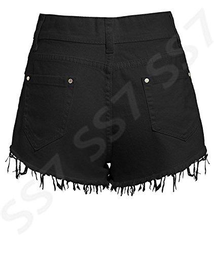 SS7 NEU Damen hoher Bund Zerrissen Shorts, schwarz, Größen 6 to 16