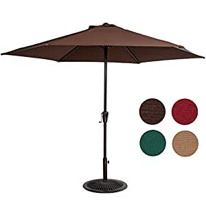 Sundale Outdoor 10FT Steel Patio Umbrella Table Market Umbrella with Crank Lift for Garden, Deck, Backyard, Pool, 6 Steel Ribs, 100% Polyester Canopy (Coffee)