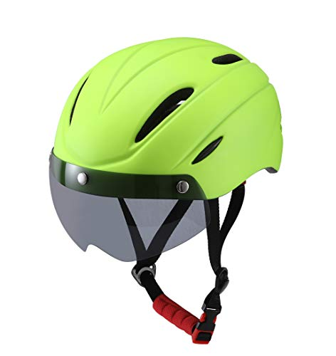 Stylish Adult Road Bike Helmet with Visor Protector Goggle Lens Adjustable Bicycle Helmets for Men & Women Green