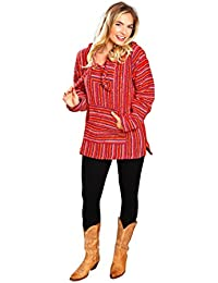 Mexican Style Baja Hoodie Pullover Poncho - For Men & Women