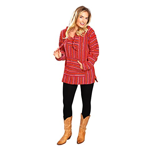 can Style Baja Hoodie Pullover Poncho - for Men & Women (Candy, Medium) ()