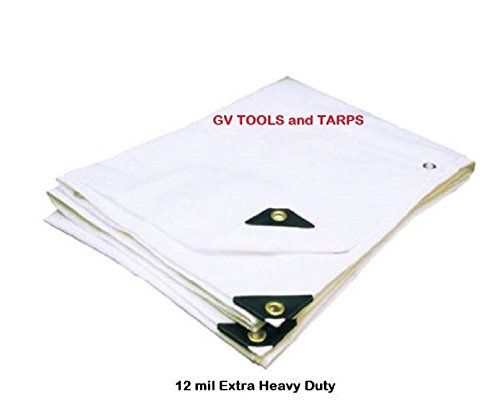5' x 7' WHITE EXTRA HEAVY DUTY12-mil POLY TARP w/ Grommets (finished size approx. 4'6'' x 6'6'') … by Golden Valley Tools & Tarps