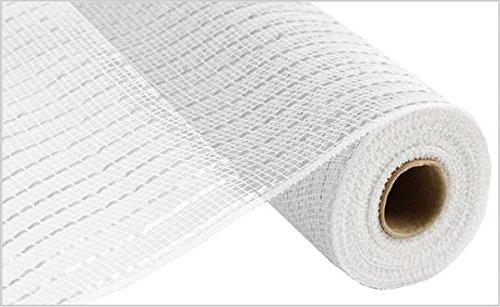 Foil Matte - Matte Wide Foil Deco Poly Mesh Ribbon, 10 inches x 30 Feet (White, Matte Silver)