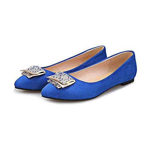 AllhqFashion Damen Ziehen auf Spitz Zehe Niedriger Absatz Nubukleder Rein Pumps Schuhe Blau