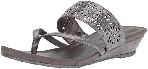 Kenneth Cole REACTION Women's Chime Low Wedge Thong Sandal, Pewter 9.5 M US