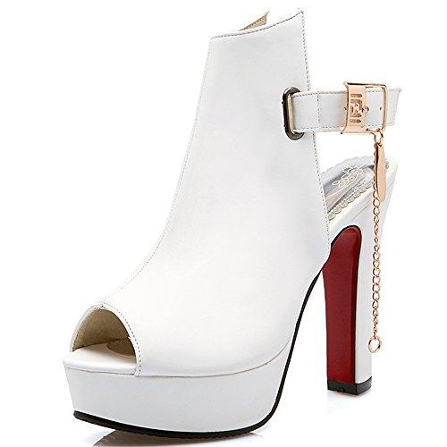 Fashion Heel - Zapatos con correa de tobillo mujer blanco