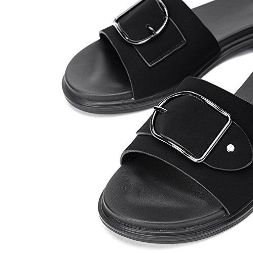 a moda tacco estivi basso donna da Tacchi Sandali DHG piatti con casual Sandali tacco alla Sandali basso alti Pantofole 34 Nero F6Zw1fqY