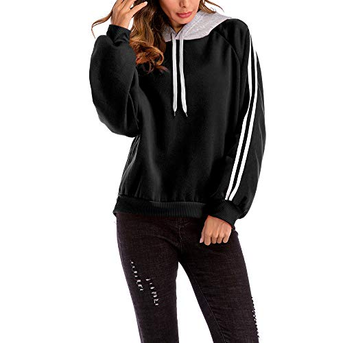 Plus Hooded Size Women Color Casual Loose Sweatshirt Black Blouse Block Striped gwdnpqAa