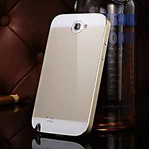 ZL KX Brand Metal Frame Acrylic Mirror Backplane Metal Hard Case for Samsung Galaxy Note 2 N7100(Assorted Colors) , Black