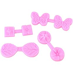 4 Pcs Leaf Butterfly Four petal Cherry Blossom Silicone Fondant Cake Mold Embossing flower Chocolate Icing Candy Decorating Moulds (Set of 4)
