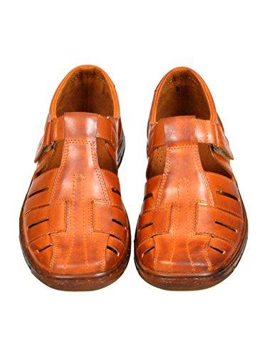Sandalen mit Herren Schuhe Bequeme Buffelleder der 1062 Echtem Kognak Hausschuhe Einlage Lukpol Orthopadischen Aus Modell qTIEE