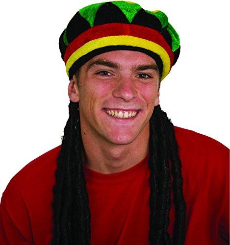 Jamaican Wig (Jamaican Rhasta Hat with Dreadlocks, Black, One Size)