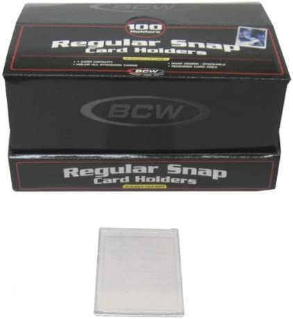 100 BCW Brand Regular Mini Snap Tite Sports Card/Trading Card Holders Cases #BCW-RS - Protect Cards from Dust & Wear 41tQIu8eb5L