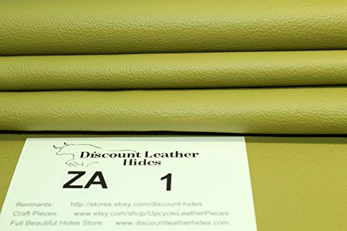 Beautiful Envy Green Leather scrap remnant ZA1 (5