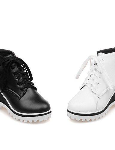 White Femme 7 bottes Habillé Eu37 Bout 5 À talon bureau Uk4 Arrondi Compensé compensées 5 Bottes Mode amp; Chaussures Travail 5 Xzz noir Décontracté Blanc us6 Cn37 La 5UfqHBxg